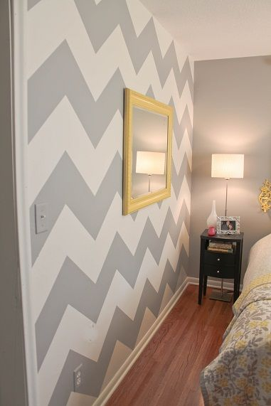 Awesome directions on how to make a chevron wall.  Gray and yellow!  Best blog!