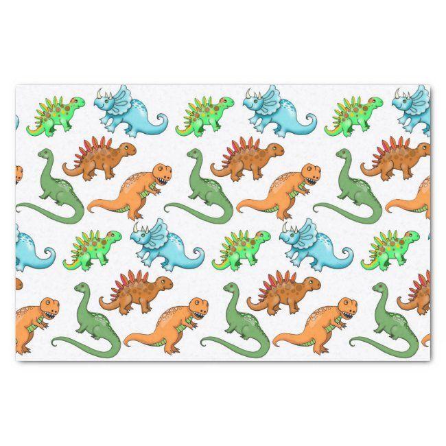 Cute Kids Dinosaurs Illustrations Tissue Paper | Zazzle.com