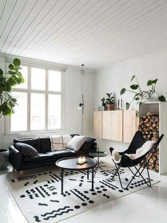 The Black Sofa Works Well With The Minimalist Room Would Do A Grey Carpet Instead Living Room Scandinavian Scandinavian Design Living Room Living Room Designs