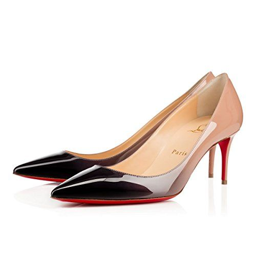 d55fc13c7b0  700 Christian Louboutin Decollete Nude Black Two-Tone Patent Leather Red  Sole Heels Point-