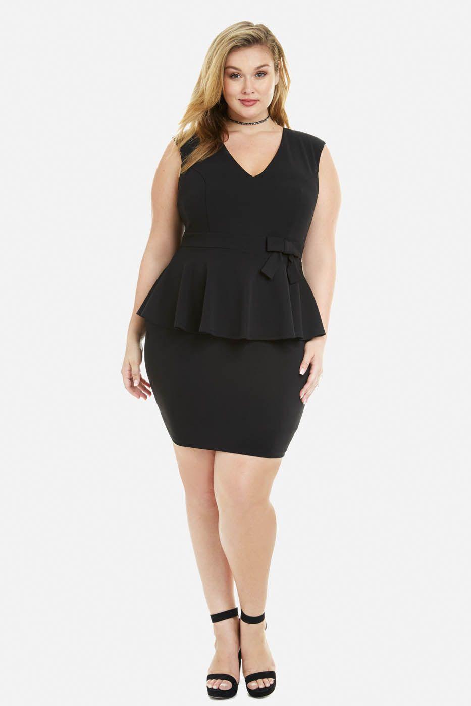 Plus Size Candy Peplum Bow Dress Fat And Belles Pinterest