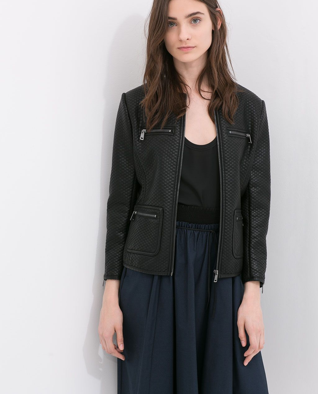 FAUX LEATHER JACKET WITH JEWEL COLLAR from Zara Black