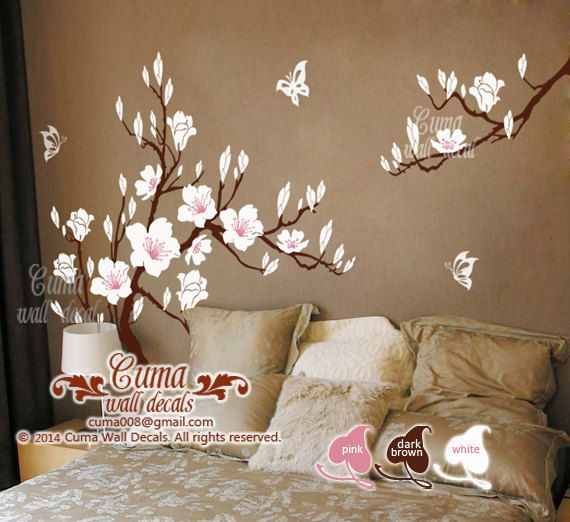 White Cherry Blossom Vinyl Wall Decals Tree Office Wedding Wall Murals  Nursery Wall Sticker   Huge