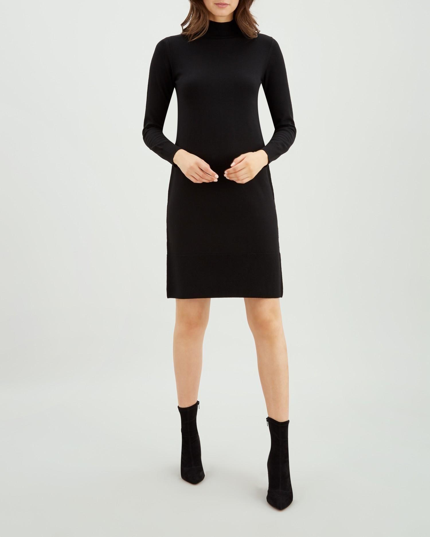 7465ddecbfaf8d Black Contrast Rib Detail Knit Dress | Jaeger | Lust List in 2019 ...