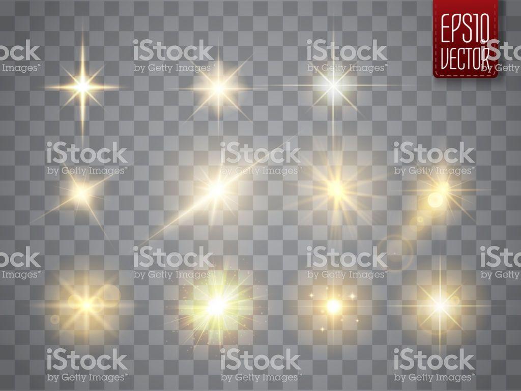 Golden Lights Sparkles Collection Glowing Lens Flares Flashes And Lens Flare Golden Lights Vector Illustration