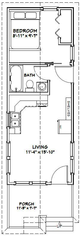 12x32 Tiny House -- #12X32H1 -- 384 sq ft - Excellent Floor Plans  Floor Plans ...