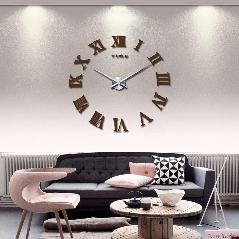 Yeni Modern 3d Aynalı Büyük Boy Dekoratif Duvar Saati Modeli