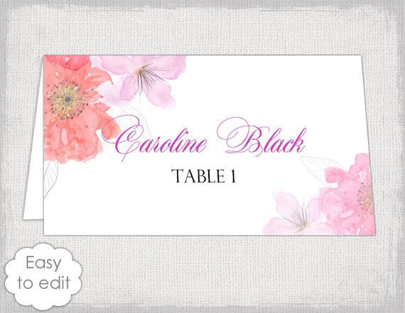 Place card template with a pink and red Watercolor Flower design - table tent template