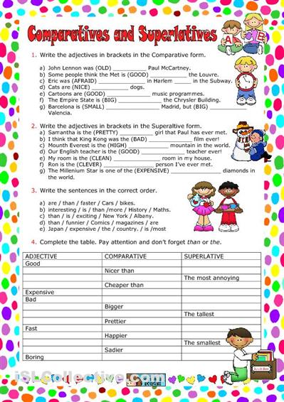 ESL Comparatives and Superlatives Worksheets | Ideas para la escuela ...