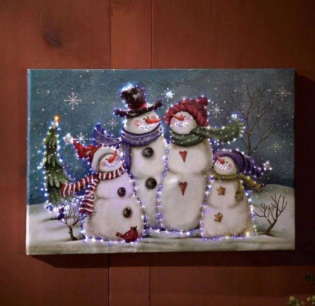 Noël SNOWY HOUSE /& Bonhommes de Neige Scène DEL Light Up Photo sur toile décoration nouveau