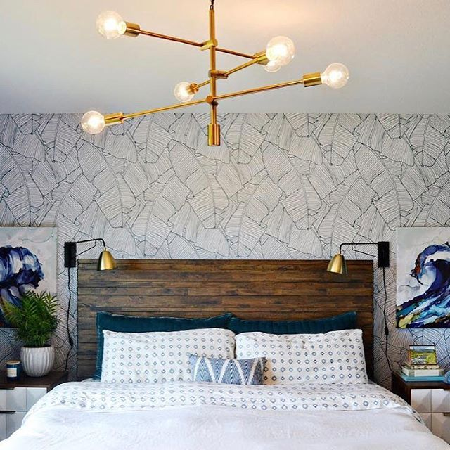 The Palms In White Geometric Removable Wallpaper Headboard Wall Decal Wallpaper Decor
