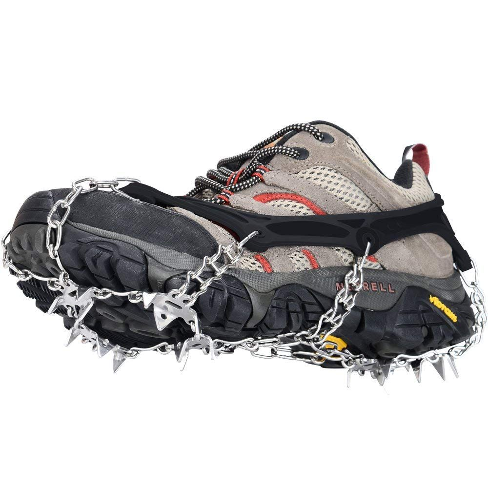 Szlzhsm Crampons Universal Flexible Anti Slip Ice Grips Snow Traction Cleats Ice Spikes Crampon With Stainless Stee Stainless Steel Chain Hiking Boots Crampons