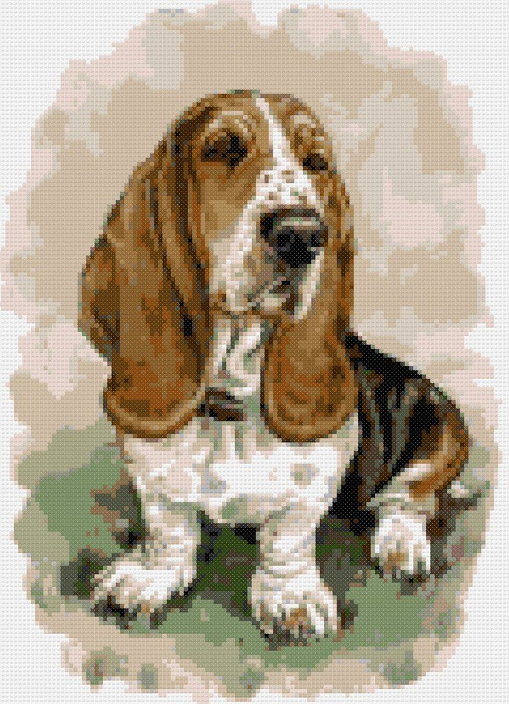 Puppies ~ Counted Cross Stitch Pattern Bloodhound ~ Dogs