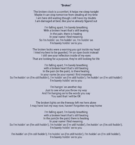Broken By Lifehouse Just Lyrics My Love Song Love Songs Lyrics