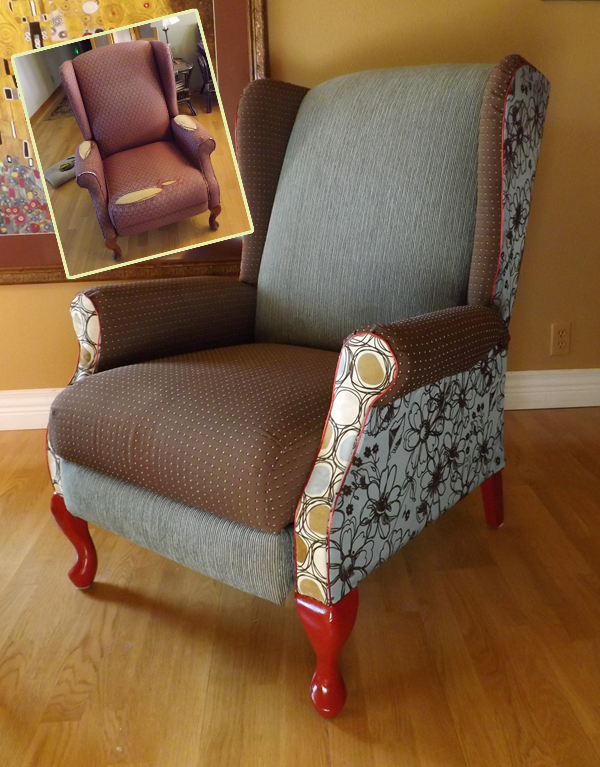 Chair Makeover - not lovin the fabric choice but LOVE the legs
