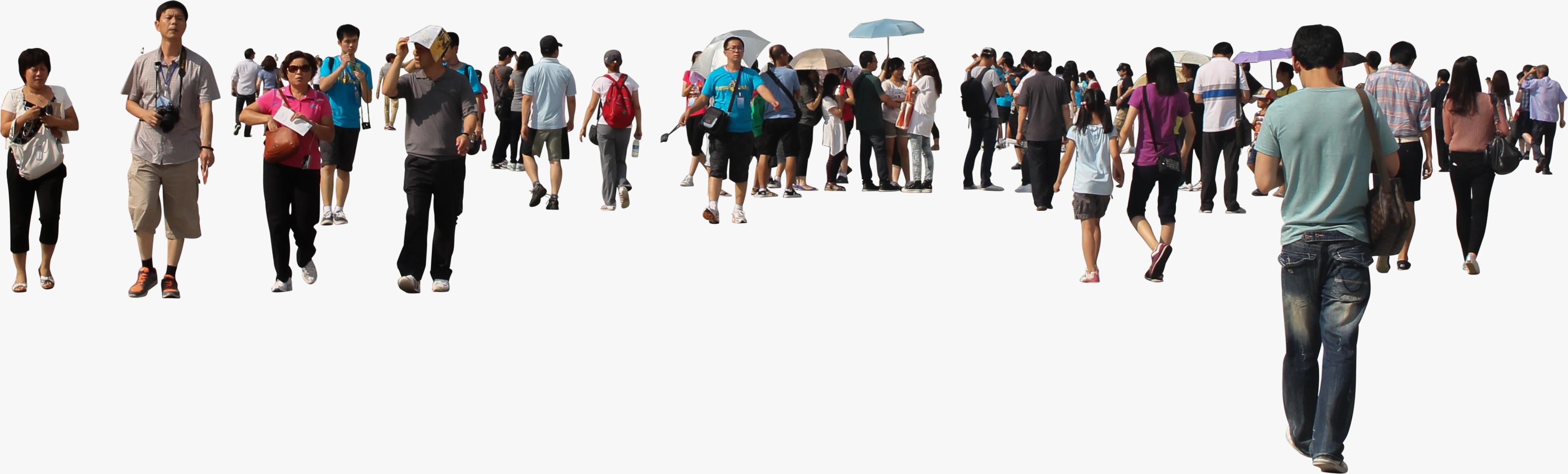 Asian Crowd Walking Png