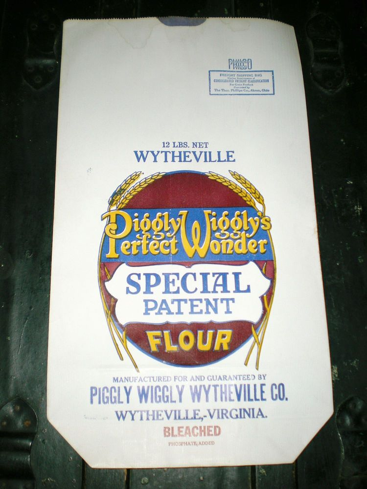 OLD PAPER FLOUR SACK PIGGLY WIGGLY WYTHEVILLE VA 12 LBS-NEVER USED OLD STOCK #PIGGLYWIGGLY