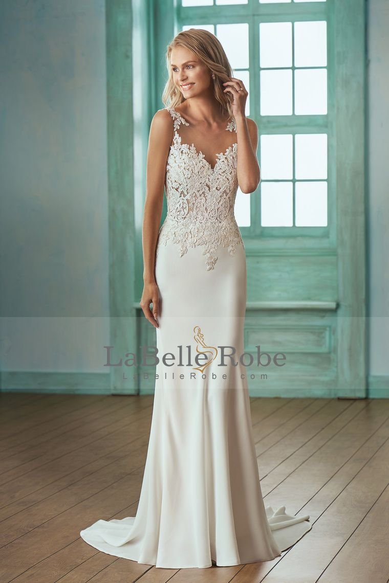 2018 Scoop Mermaid Spandex Abra Back Wedding Dresses Com Applique Sweep Train Wedding Dresses Crepe Wedding Dress Beachy Wedding Dress [ 1140 x 760 Pixel ]