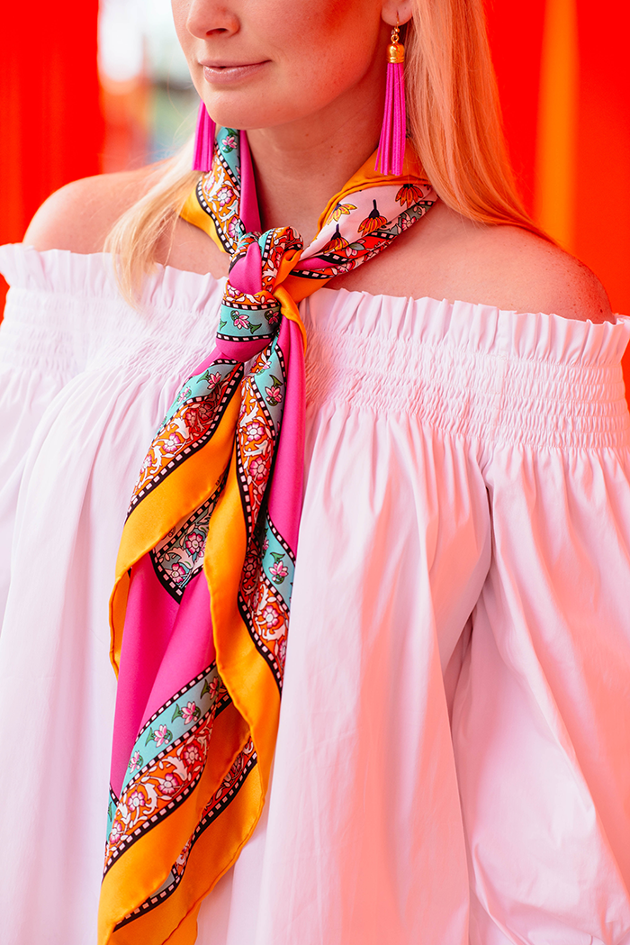 silk scarf + off-the-shoulder blouse