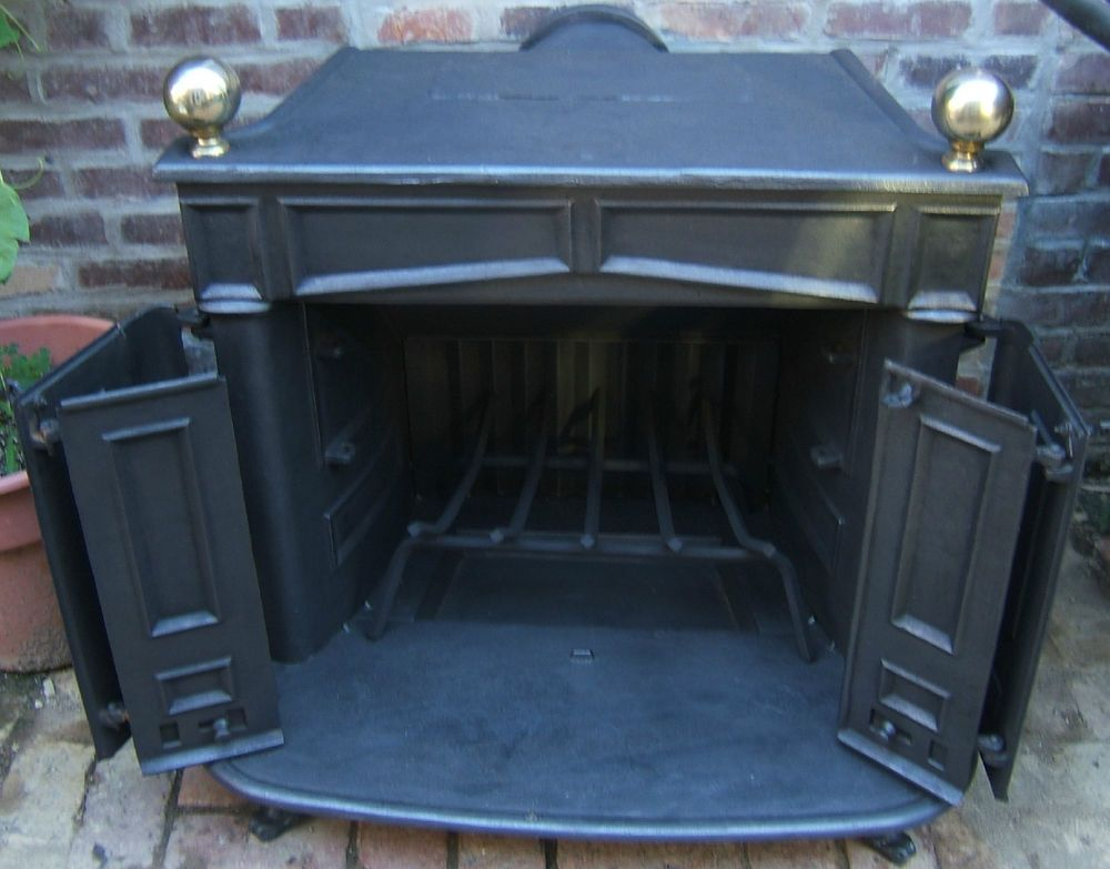 Wood Burning Franklin Cast Iron Fireplace Stove Complete