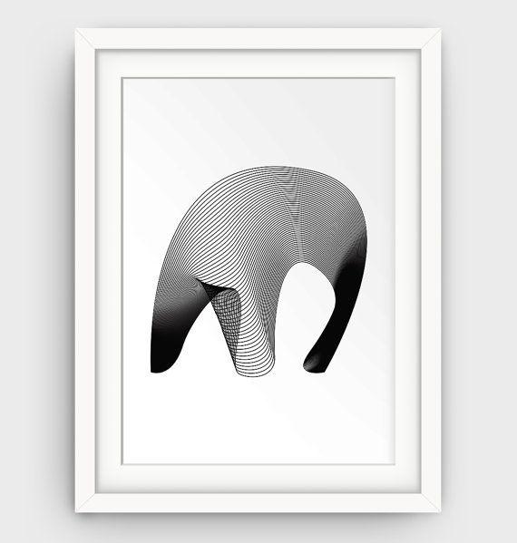 Line Wall Art Modern Wall Decor Elephant Art by GalliniDesign