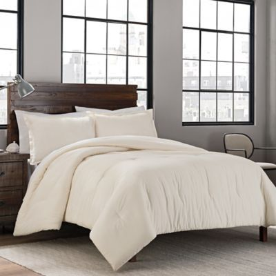Garment Washed Solid Twin Twin Xl Comforter Set In Cream