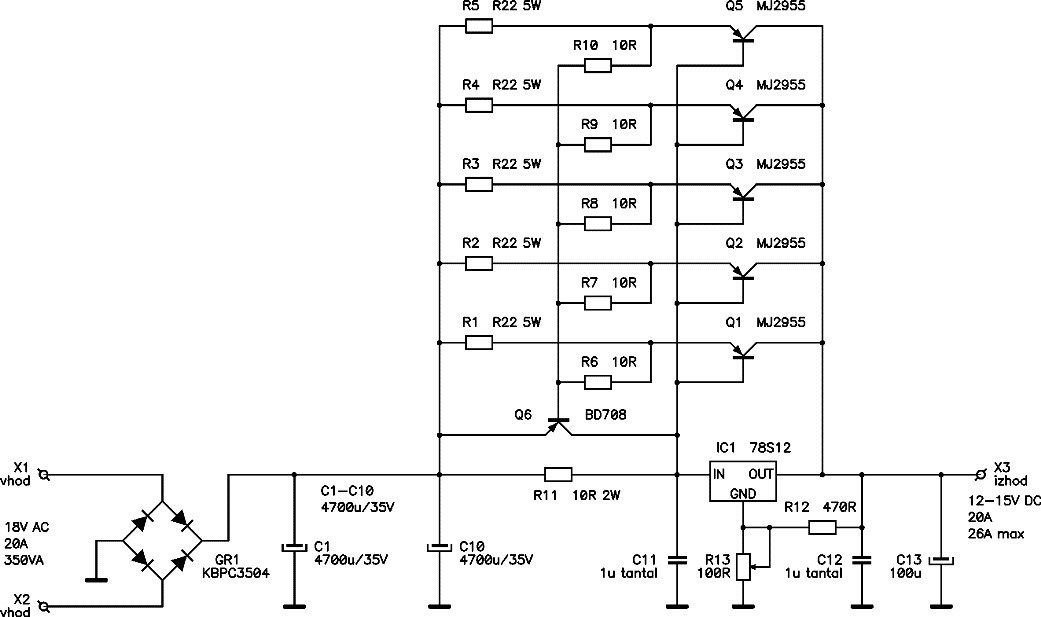 here the circuit diagram of 12v 20a regulated dc power supplyhere the circuit diagram of 12v 20a regulated dc power supply using 5 pieces of power transistor mj2955, voltage regulator 78s12