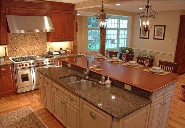 Contrasting Counters Kitchen Island Dining Table Kitchen Island
