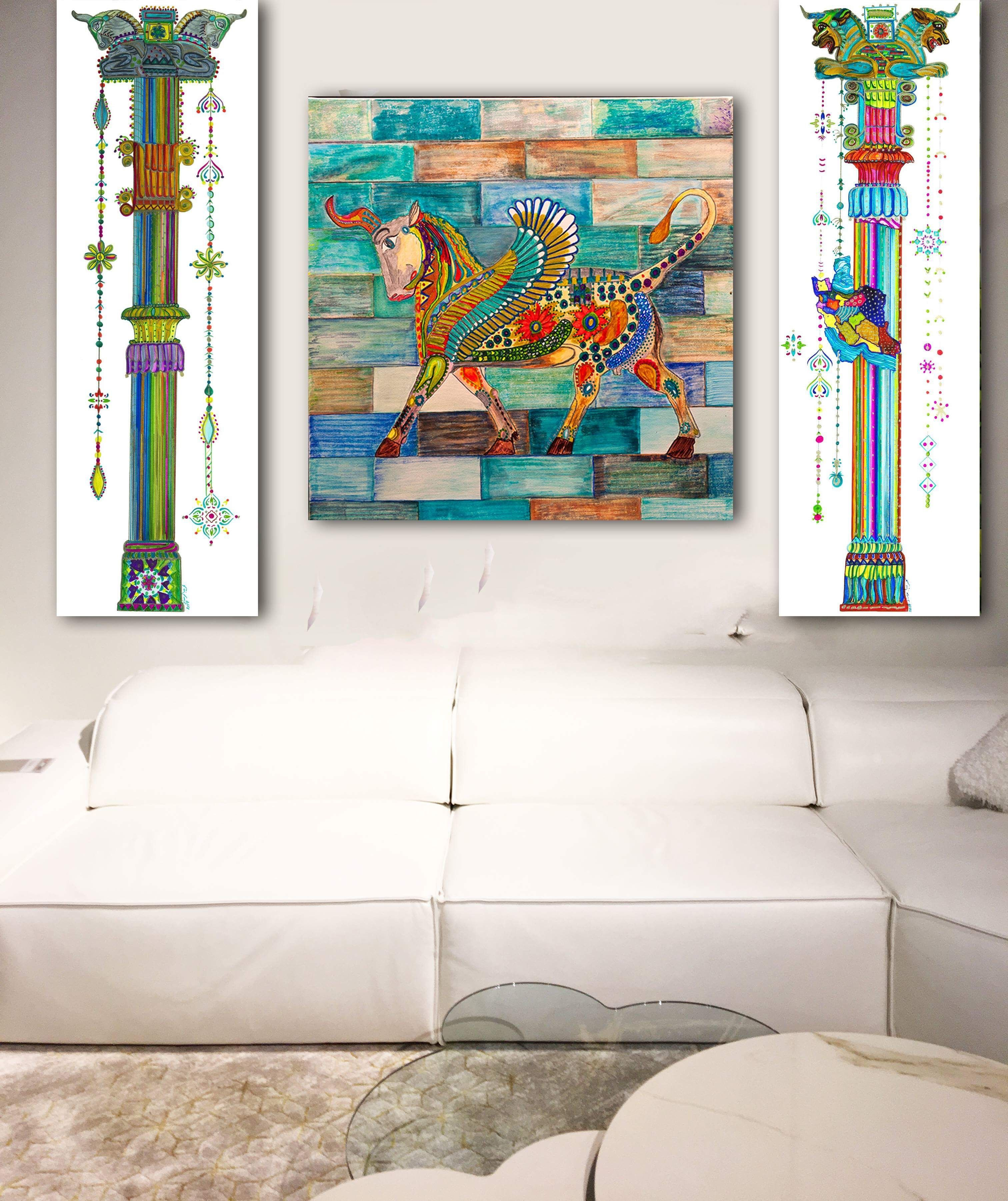 Persian Canvas Print Painting Zoroastrian Art Framed Modern Etsy Unusual Wall Art Colorful Wall Art Colorful Canvas Art
