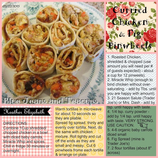 Blue Jeans And Teacups: Curried Chicken and Fig Pinwheels