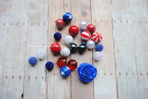 Fourth of July Red White and Blue DIY Chunky by LauraLeeDesigns108, $10.00