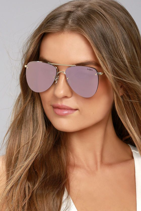 ffaa73806b3  AdoreWe  Lulus Accessories❤️Designer Le Specs The Prince Gold and Pink  Mirrored Sunglasses - AdoreWe.com