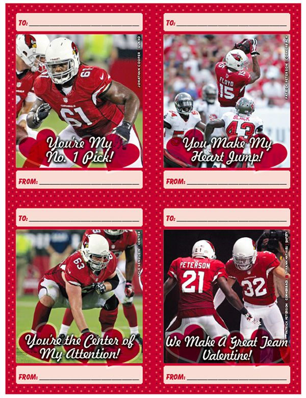valentines day with cardinal red arizona cardinals valentines day cards free to print - Football Valentine Cards