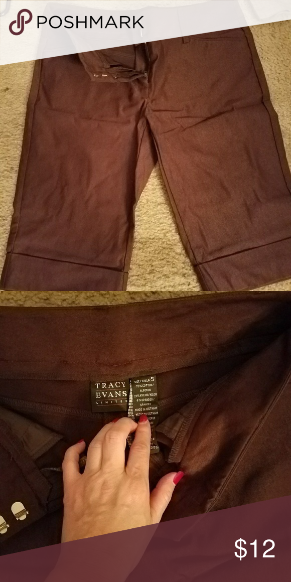 Brown capris Worn  just a few times. Great condition. Casual business attire. Tracy Evans  Pants Capris