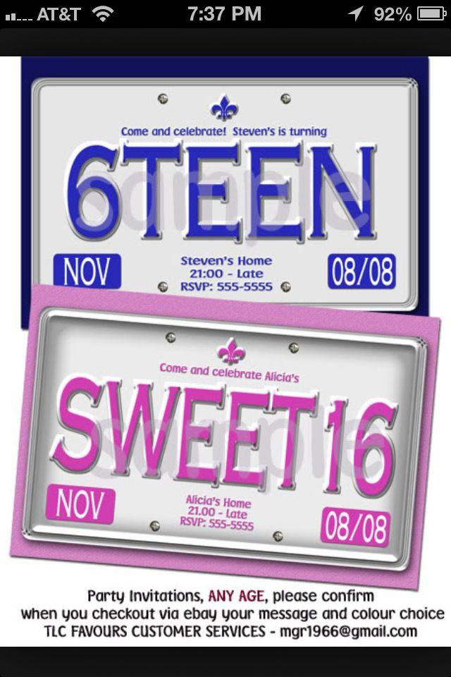 License plate sweet 16 invitations! | Themed Events- Bar Mitzvah ...