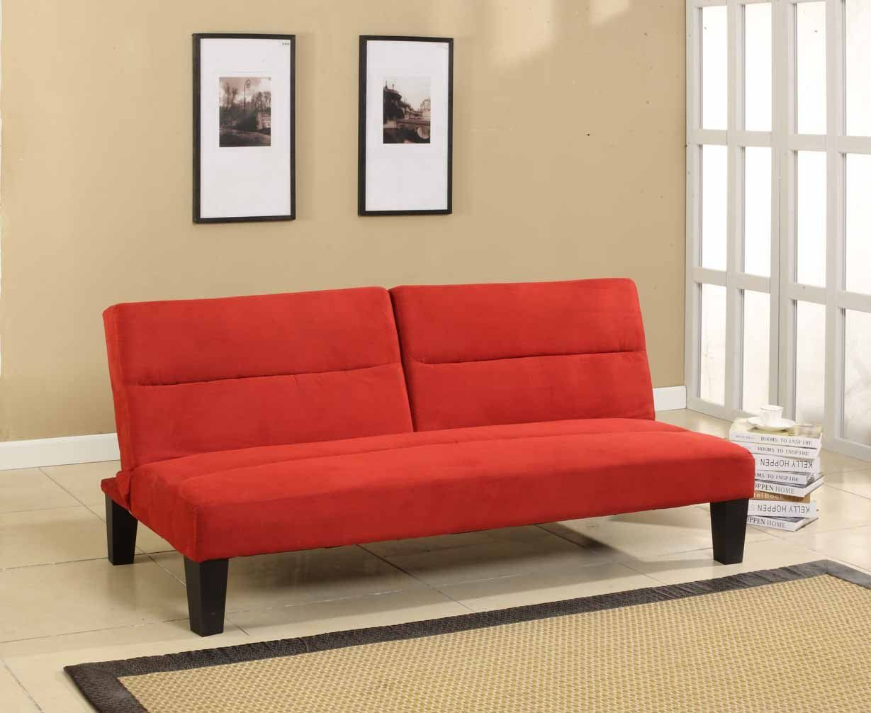 Com Kings Brand Microfiber Split Back Adjule Klik Klak Sofa Futon Bed Sleeper Red Kitchen Dining