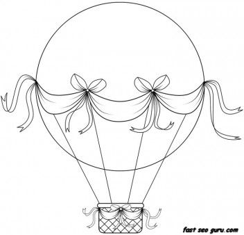 Print Out Hot Air Balloon Coloring In Sheets Printable Coloring