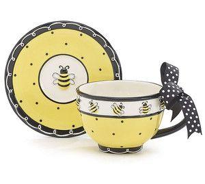 Bumble Bee Days Teacup Saucer Set Tea Coffee Decor Gift Whimiscal Honeybee