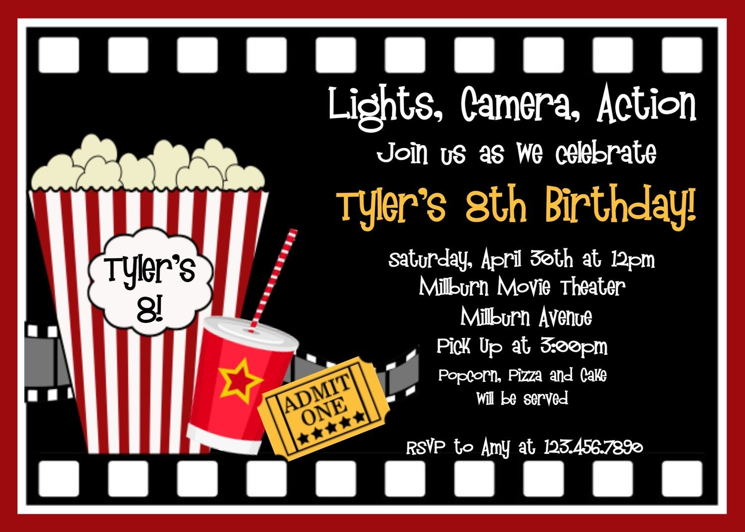 Movie Birthday Invitations Movie Night Birthday Party Invitation ...