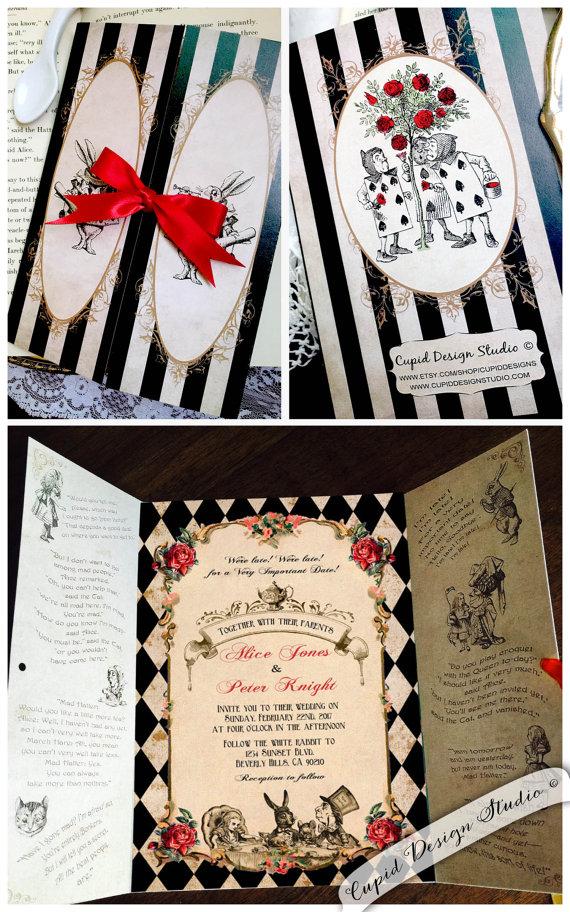 Elegant Alice In Wonderland Invitation Mad Hatter Tea Party Wedding