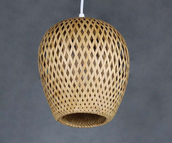Double Lamp Shade Hand Woven From Bamboo Pendant Lamp One ...