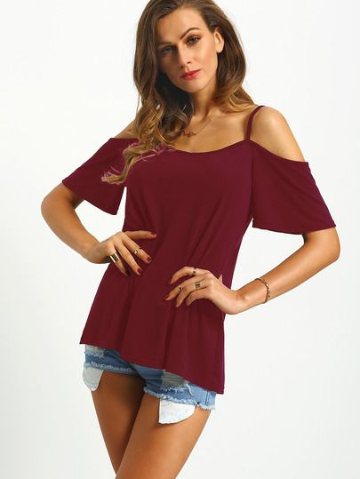 d69913271 Camiseta hombros descubiertos-Sheinside | Camisetas in 2019 | Lace ...