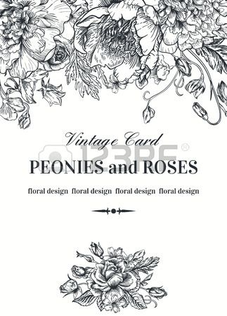 Vintage Floral Card With Garden Flowers Peonies Roses Sweet Peony Illustration Floral Drawing Romantic Background