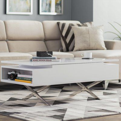 Wade Logan Seraphina Lift Top Extendable Cross Legs Coffee Table