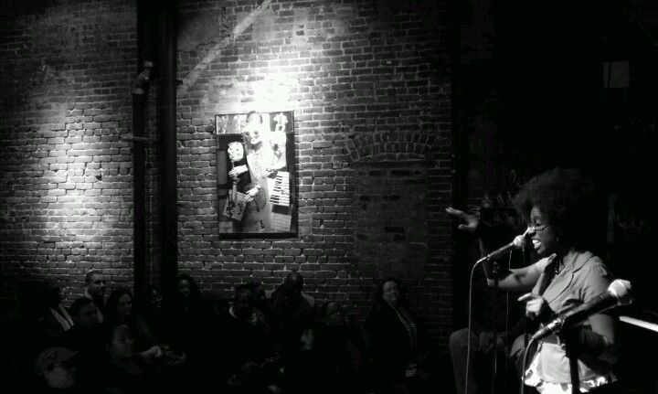 D. Colin sharing her words at The 19th Anniversary of All That at The Nuyorican Poets' Cafe, NYC.
