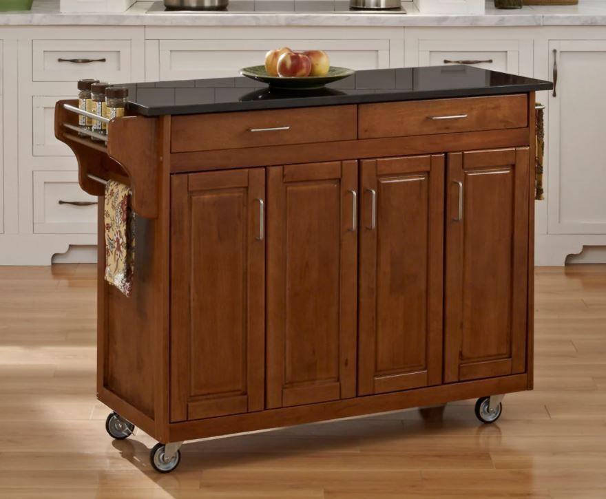Rolling Kitchen Island Cart Black Granite Top Hardwood Cabinet