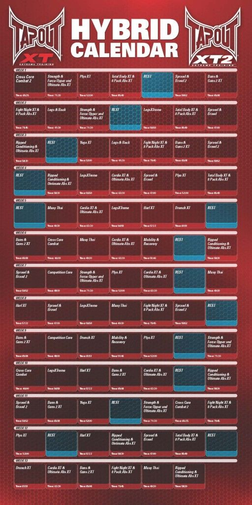 Calendario Fisico.Xt2 Workout Chart R04 V01 2 Tapout Ejercicios Rutinas