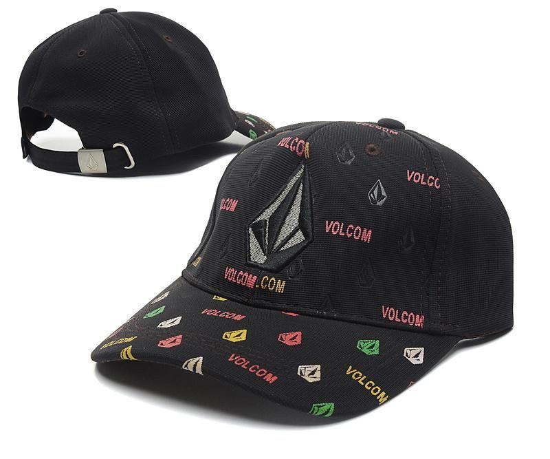 Men's / Women's Volcom Full Stone 3D Logo Embroidery Adjustable Baseball Hat - Black