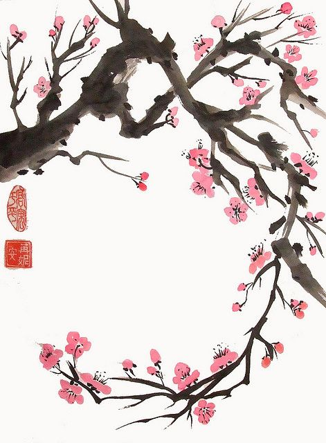 Curving Plum Branch Blossoms Art Cherry Blossom Painting Japanese Painting