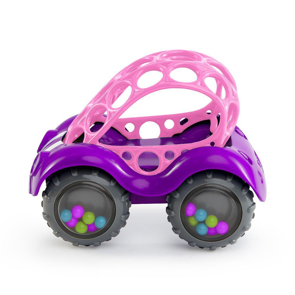 Oball Rattle and Roll Car Toy Purple with Pink Roof